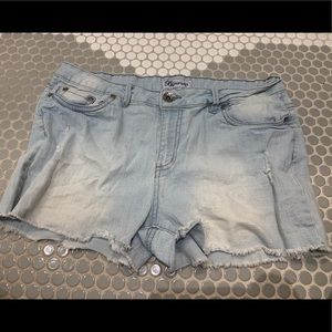 Pants - Light wash ripped jean shorts